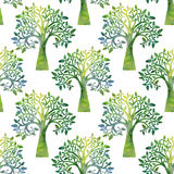 Nature seamless pattern with oak tree branches and leaves Royalty Free Stock Images