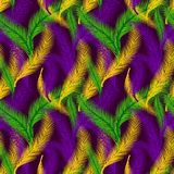 Nature seamless pattern of palms. Color of Mardi Gras. stock images