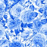 Nature seamless pattern with roses Royalty Free Stock Photo