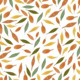 Nature seamless pattern watercolor hand drawn leaf Royalty Free Stock Images
