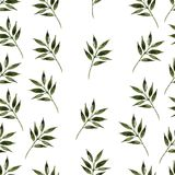 Nature seamless pattern watercolor hand drawn leaf Stock Photography