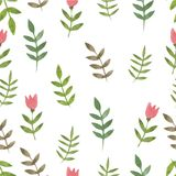 Nature seamless pattern watercolor hand drawn leaf. S. Nature color Stock Photo