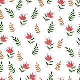 Nature seamless pattern watercolor hand drawn leaf. S. Nature color Royalty Free Stock Image