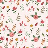 Nature seamless pattern watercolor hand drawn leaf Stock Photos