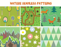 Nature seamless patterns set with tree, flowers Royalty Free Stock Images