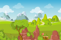 Nature seamless vector landscape with hills, trees and mountains Stock Images