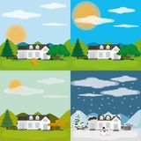 Nature season design. Autumn spring winter and summer house of nature season and element theme Vector illustration Stock Images