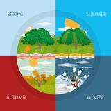 Nature season design. Autumn spring winter and summer tree of nature season and element theme Vector illustration Royalty Free Stock Images