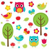 Nature set. Vector set of birds with flowers and trees