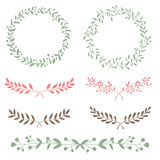 Nature set brunches and wreath hand drawn Royalty Free Stock Photo