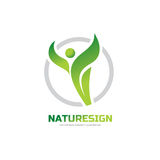 Nature sign - vector logo concept illustration. Abstract human character and green leaves. Health symbol.  Stock Photo