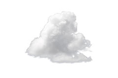 Nature single white cloud isolated on white background. Cutout clouds element design for multi purpose use Stock Images