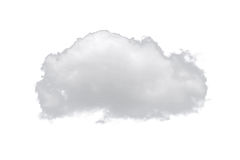Nature single white cloud isolated on white background. Cutout clouds element design for multi purpose use Royalty Free Stock Photo