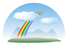 Nature: sky, rainbow, clouds vector illustration