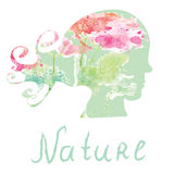 Nature spa card  with girl head silhouette Royalty Free Stock Photography