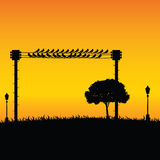 Nature with sparrow and street lights color vector Royalty Free Stock Photos