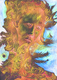 Nature spirit - the wind prophet with feathers, drawing Royalty Free Stock Images