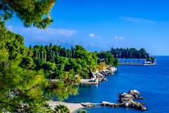 Nature in Split, Croatia. Photography of coastline in city of Split with swimming pool and beaches in the sunny day, in Croatia Royalty Free Stock Photos