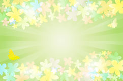 Nature spring background with flowers. Butterflies, rays and place for text - vector illustration Royalty Free Stock Photo