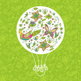 Nature spring background. Seamless spring floral background with butterflies and birds Stock Photos