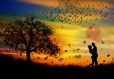 Nature spring beauty and couple in love Stock Photos