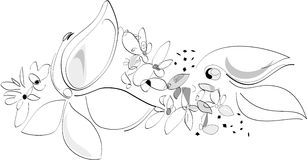 Nature in Spring - Flowers. Black and white. Vector Artistic Illustration. Nature waking up. Digital Art. Exquisite lines stock illustration