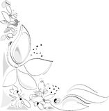 Nature in Spring - Flowers. Corner composition. Black and white. Vector Artistic Illustration Royalty Free Stock Photo