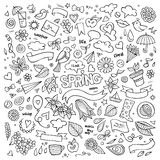 Nature spring hand drawn vector symbols and Stock Images
