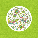 Nature spring template background. Seamless spring floral background with butterflies and birds Vector Illustration