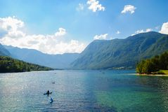 Nature in spring time. Beautiful nature of lake, mountains and blue sky in spring Stock Images