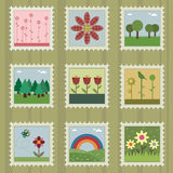 Nature stamps. Collection of stamps with nature designs