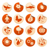 Nature stickers. Nature symbols on round stickers Royalty Free Stock Photography