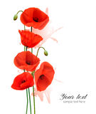 Nature summer background with red poppies. Vector Stock Images