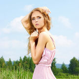 Nature summer blonde girl Stock Images
