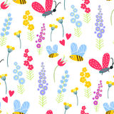 Nature summer flowers and bee insects illustration seamless pattern background floral vector Royalty Free Stock Photography