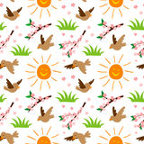 Nature summer sun and bird illustration seamless pattern background floral vector Royalty Free Stock Images