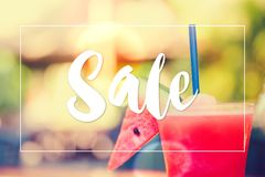 Nature summer watermelon juice with Sale text concept. royalty free stock photography