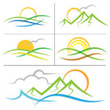 Nature sunrise mountain logo. A logo image with mountains, sunrise and sunset, sea ocean and waves in nature royalty free illustration