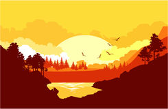 Nature at sunset. Vector illustration of a fictional landscape of a wildlife sunset in a mountain forest Stock Photo