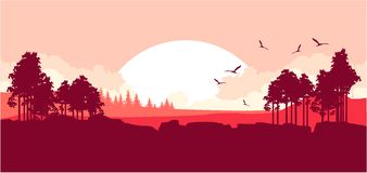Nature at sunset. Vector illustration of a fictional landscape of a wildlife sunset in a mountain forest Royalty Free Stock Photo