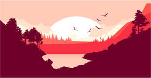 Nature at sunset. Vector illustration of a fictional landscape of a wildlife sunset in a mountain forest with a lake Royalty Free Stock Photography