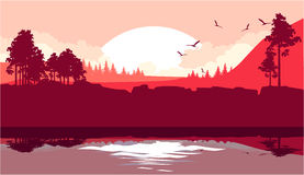 Nature at sunset. Vector illustration of a fictional landscape of a wildlife sunset in a mountain forest with a lake Stock Photography