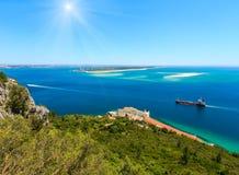 Nature Sunshiny Park Arrabida, Portugal. Summer sunshiny sea coast landscape. Top view from Nature Park Arrabida in Setubal, Portugal Royalty Free Stock Photo