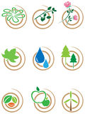 Nature swirl icon set Stock Photos