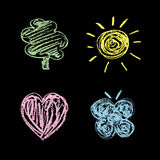 Nature symbols on a chalkboard/Set Stock Images