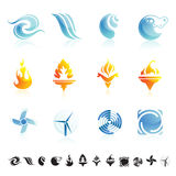 Nature symbols icon set. Set of 12 icons with symbols of wind, water and fire Stock Photography