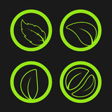 Nature symbols with leaf, simple circles, circular green eco labels. Illustration Royalty Free Stock Photo