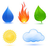 Nature symbols. Water drop, red fire, green leaf. Highly detailed illustration of nature symbols. Water, fire, leaf, sun and cloud Stock Photography