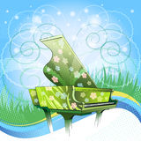 Nature symphony. Illustration with grand piano covered by floral paintings against  festive nature background as metaphor of spring time drawn with using Royalty Free Stock Photos