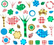 Nature textile stickers, Isolated On White Royalty Free Stock Images